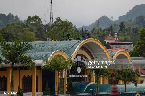 Vietnamese soldiers set up their equipment on the roof of the Dong Dang railway station where North Korean leader Kim Jong Un is expected to arrive...