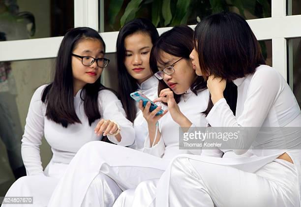 Vietnamese Students during a break at the Hanoi Law University on October 31, 2016 in Hanoi, Vietnam.