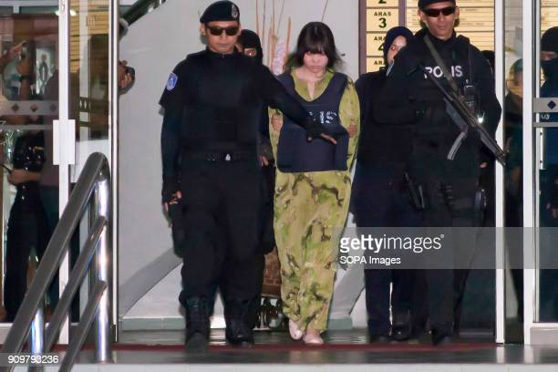 Vietnamese suspect Doan Thi Huong is seen escorted by the police as she leaves the Shah Alam Court House On 13th February 2017 Kim Jong Nam had been...