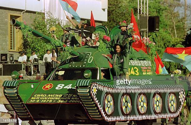 Vietnamese troops and tank parade celebrating the 25th anniversary of the Fall of Saigon April 30 in front of the Reunification Palace in Saigon...