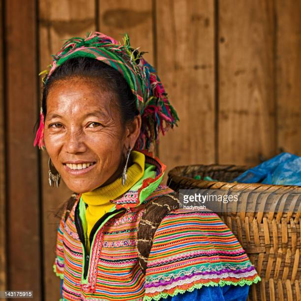 vietnamese woman from flower hmong tribe - sapa stock pictures, royalty-free photos & images