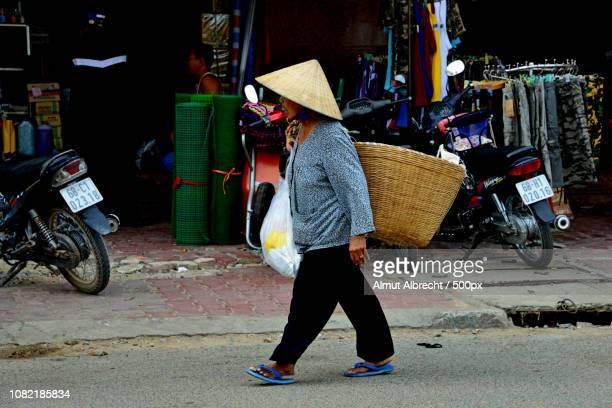 Vietnamese woman on the street in HaTien