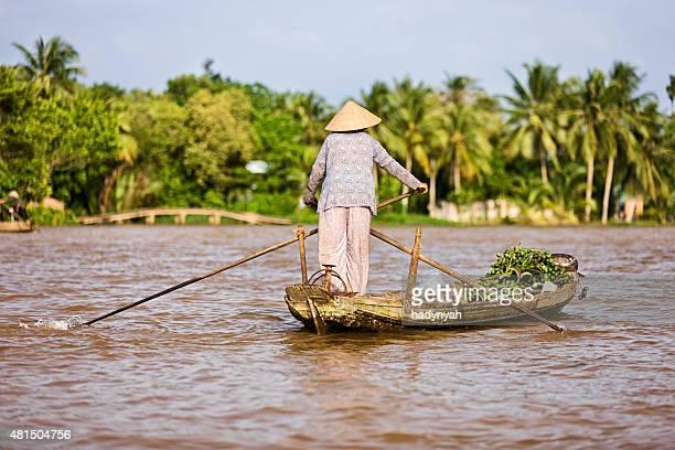 Barco de remos vietnamita mujer en el río Mekong Delta, Vietnam