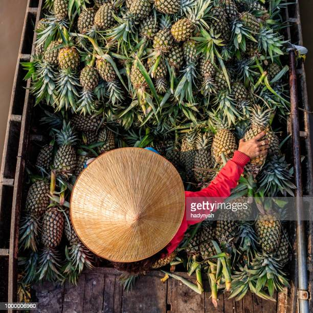vietnamese woman selling pineapples on floating market, mekong river delta, vietnam - vietnam stock pictures, royalty-free photos & images