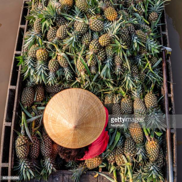 Vietnamese woman selling pineapples on floating market, Mekong River Delta, Vietnam