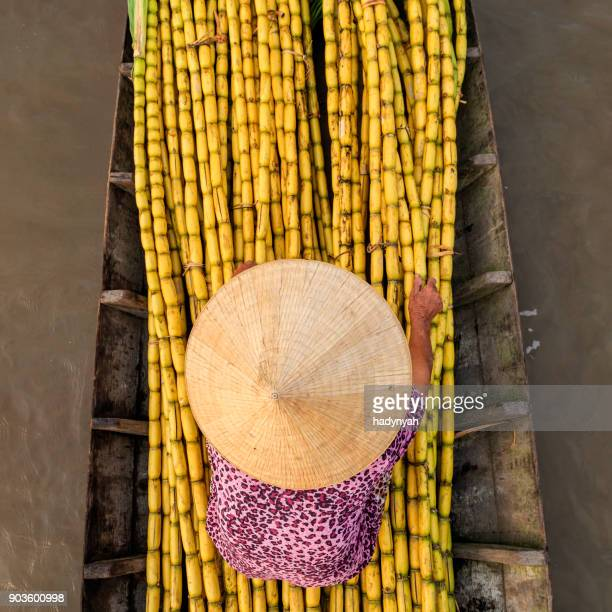 Vietnamese woman selling sugar cane on floating market, Mekong River Delta, Vietnam