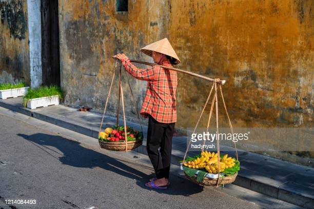 vietnamese woman selling tropical fruits, old town in hoi an city, vietnam - south vietnam stock pictures, royalty-free photos & images