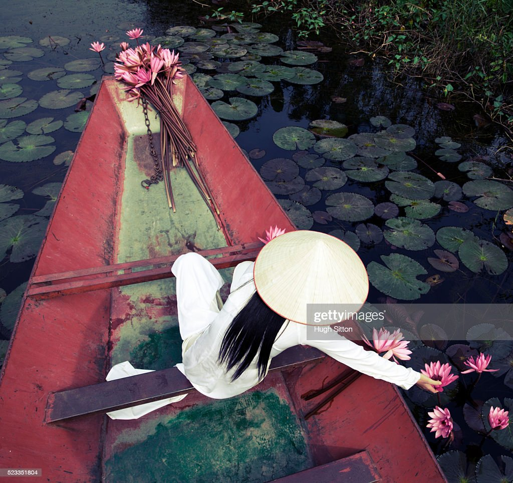 Vietnamese women in traditional costume : Stock Photo