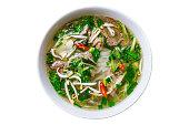 Vietnamise soup pho bo on white background isolated