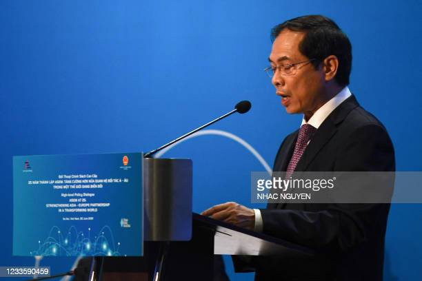 Vietnam's Foreign Minister Bui Thanh S?n speaks during the Asia-Europe Meeting High-Level Policy Dialogue Foreign Ministers event in Hanoi on June...