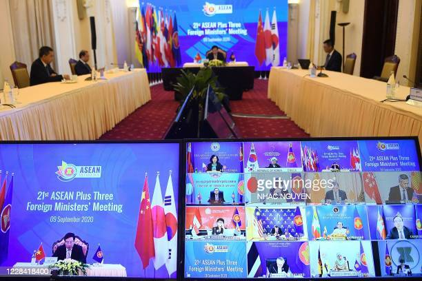 Vietnam's Foreign Minister Pham Binh Minh and foreign ministers from ASEAN countries alongwith their counterparts from China, Japan and South Korea...