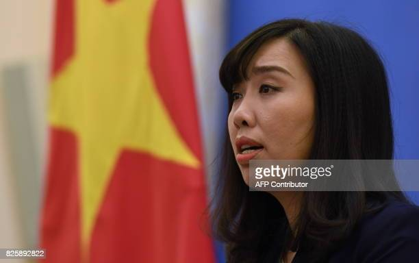 Vietnam's Foreign Ministry spokeswoman Le Thi Thu Hang speaks during a press conference in Hanoi on August 3 2017 Portrayed by the Vietnamese...