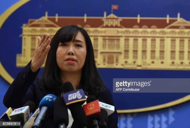 Vietnam's Foreign Ministry spokeswoman Le Thi Thu Hang takes questions during a press conference in Hanoi on August 3 2017 Portrayed by the...