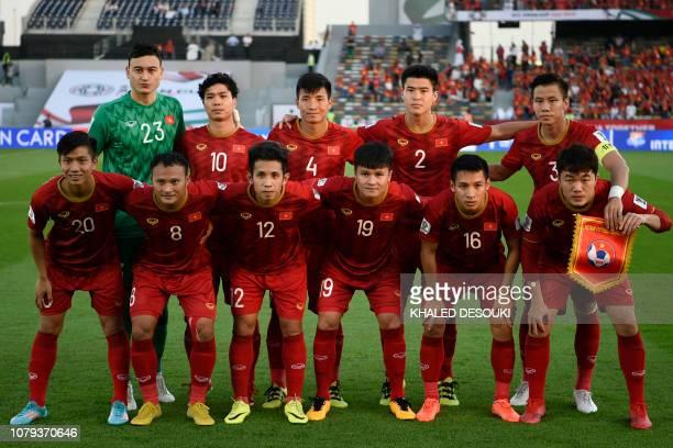 Vietnam's goalkeeper Van Lam Dang Vietnam's forward Cong Phuong Nguyen Vietnam's defender Tien Dung Bui I Vietnam's defender Duy Manh Do Vietnam's...