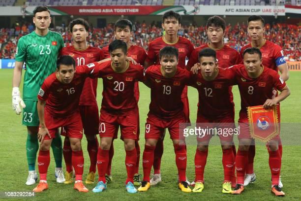Vietnam's goalkeeper Van Lam Dang Vietnam's forward Cong Phuong Nguyen Vietnam's defender Tien Dung Bui I Vietnam's defender Van Hau Doan Vietnam's...