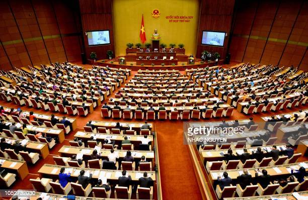 Vietnam's parliament the National Assembly opens its autumn session in Hanoi on October 22 2018 Lawmakers are expected to swear in Vietnam's...