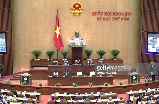 Vietnam's parliament the National Assembly opens its summer session in Hanoi on May 21 2018 Lawmakers are set to review socioeconomic progress for...