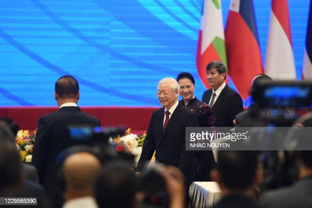 Vietnam's President and Communist Party General Secretary Nguyen Phu Trong arrives for the 37th summit of the Association of Southeast Asian Nations...