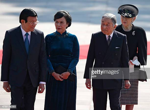 Vietnam's President Truong Tan Sang his wife Mai Thi Hanh Japan's Emperor Akihito and Empress Michiko attend a welcoming ceremony at the Imperial...