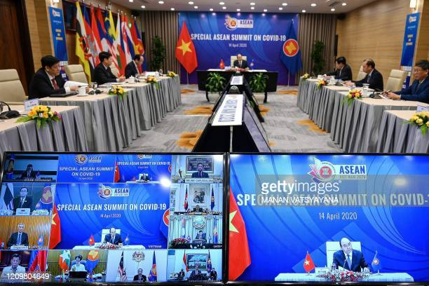 Vietnams Prime Minister Nguyen Xuan Phuc addresses a live video conference on the special Association of Southeast Asian Nations Summit on the...