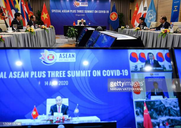 Vietnams Prime Minister Nguyen Xuan Phuc addresses a live video conference on the special Association of Southeast Asian Nations Plus Three Summit on...