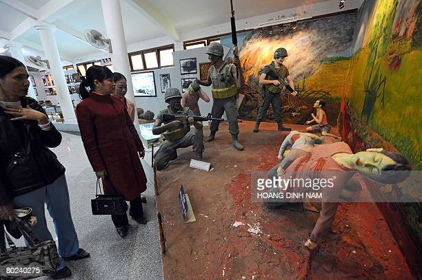 Vietnam-war-US-anniversary by Aude Genet Visitors look at a re-created scene at the massacre museum at My Lai village in the central province of...