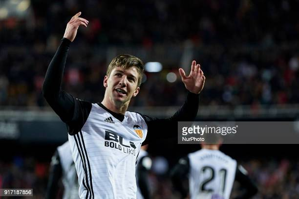 Vietto of Valencia CF celebrates a goal during the La Liga game between Valencia CF and Levante UD at Mestalla on February 11 2018 in Valencia Spain