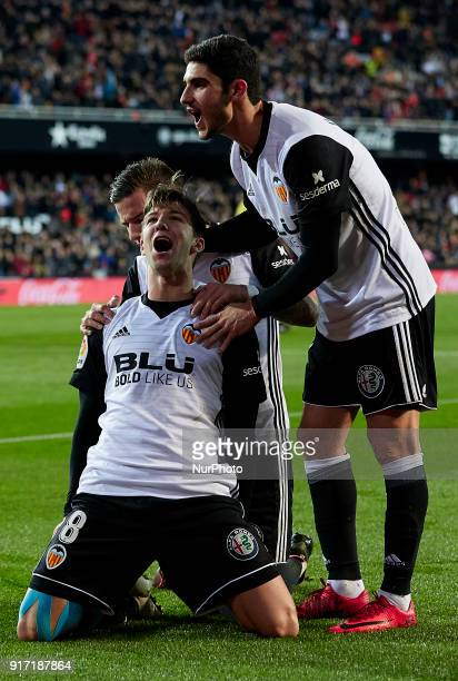 Vietto of Valencia CF celebrates a goal with his teammates Santi Mina and Guedes during the La Liga game between Valencia CF and Levante UD at...