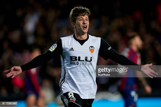 Vietto of Valencia CF celebrates after scoring during the La Liga game between Valencia CF and Levante UD at Mestalla on February 11 2018 in Valencia...
