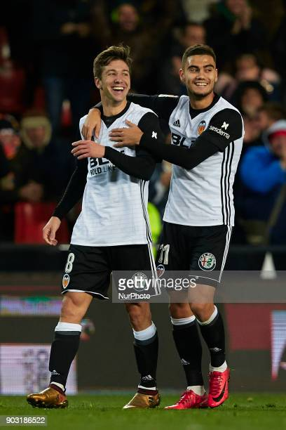 Vietto of Valencia CF celebrates after scoring with his teammate Andreas Pereira of Valencia CF during the Copa del Rey Round of 16 second leg game...