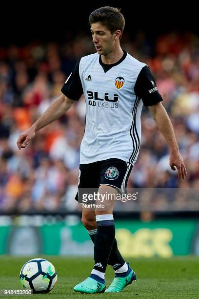 Vietto of Valencia CF with the ball during the La Liga game between Valencia CF and Getafe CF at Mestalla on April 18 2018 in Valencia Spain