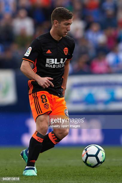 Vietto of Valencia in action during the La Liga match between Leganes and Valencia at Estadio Municipal de Butarque on April 1 2018 in Leganes Spain