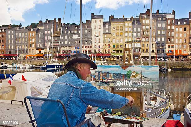 vieux bassin, old port, a painter - calvados stock pictures, royalty-free photos & images