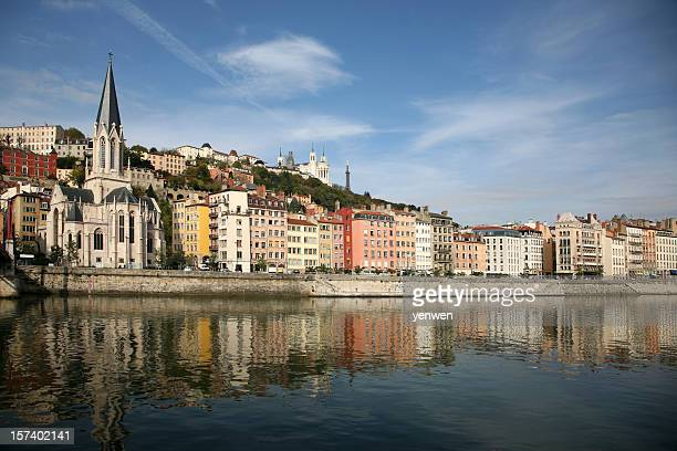 vieux lyon and saone river - rhone stock pictures, royalty-free photos & images