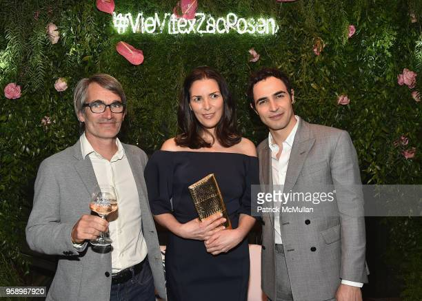VieVite Winemaker Christopher Duburcq Ann Caruso and Zac Posen attend the VieVite x Zac Posen LimitedEdition Bottle Launch at Salon de Ning at The...