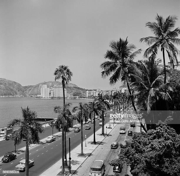 A view a roadway off Copacabana beach in Rio De Janeiro Brazil