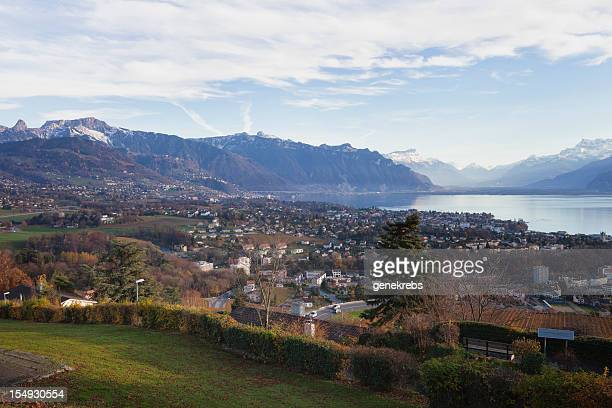 view above vevey, montreux towards the rhone valley - montreux stock pictures, royalty-free photos & images