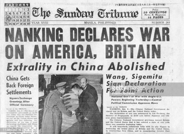 View 'abovethe fold' of the front page of the Sunday Tribune with a headline that reads 'Nanking Declares War On America Britain' Manila Philippines...
