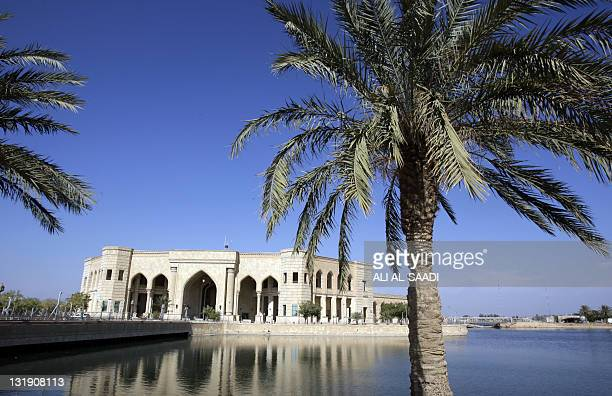 A view across a pond on November 7 leading to the AlFaw palace formerly belonging to executed Iraqi leader Saddam Hussein and located in what is now...