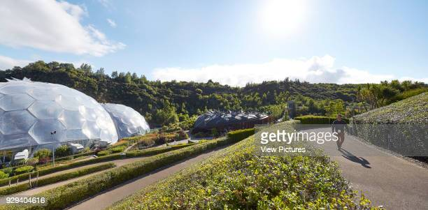 View across approach with roofline and domes Eden Project Bodelva United Kingdom Architect Grimshaw 2016