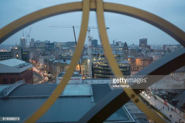 View across Birmingham City Centre from the new Birmingham Library rooftop in Birmingham United Kingdom