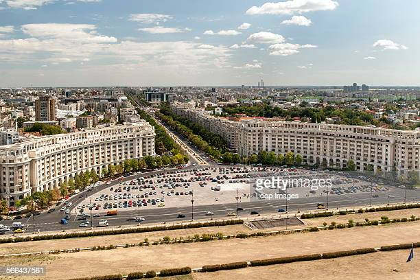 View across Bucharest and Unification Boulevard from the balcony of the Palace of the Parliament in Bucharest which is the capital of Romania