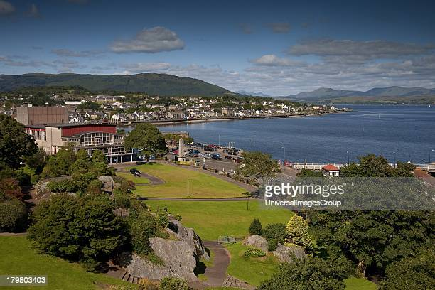 View across castle gardens towards Queens Hall and Dunnon from Castle Hill Dunoon Scotland United Kingdom