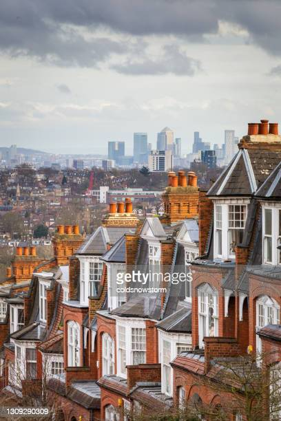 view across city of london from muswell hill - greater london stock pictures, royalty-free photos & images