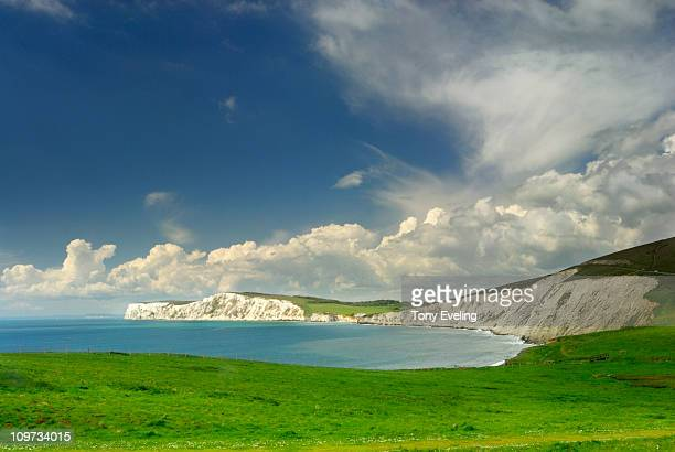 view across compton bay, isle of wight, uk - compton bay isle of wight stock pictures, royalty-free photos & images