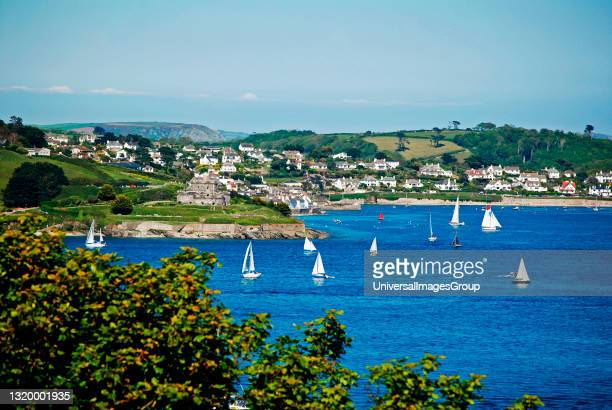 View across falmouth bay from pendennis point to st mawes in cornwall.