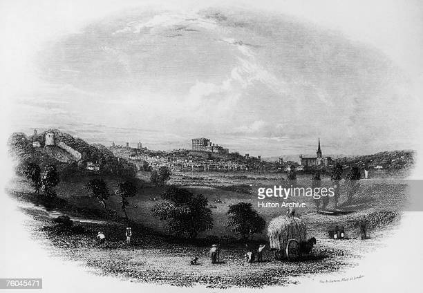 A view across farmland to the city of Norwich Norfolk with Norwich Castle and the Norman Cathedral circa 1830 Engraving by Layton's