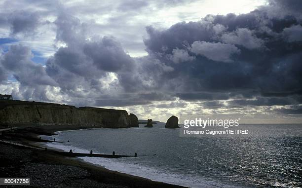 View across Freshwater Bay on the coast of the Isle of Wight, circa 1970.