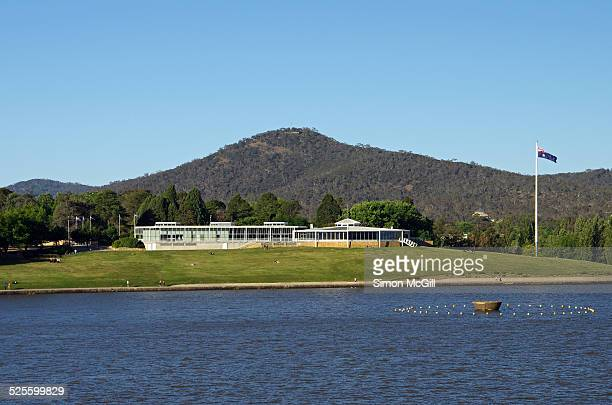 View across Lake Burley Griffin to Regatta Point home of the National Capital Exhibition Centre and Mount Ainslie Canberra Australian Capital...