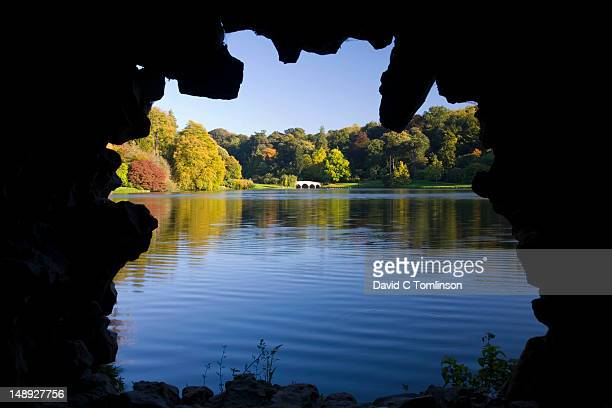 View across lake from the grotto, Stourhead Landscape Garden.